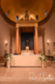 A look at the alter prior to Brian & Sarah's June 2018 wedding ceremony at the College of the Holy Cross in Worcester, Massachusetts.