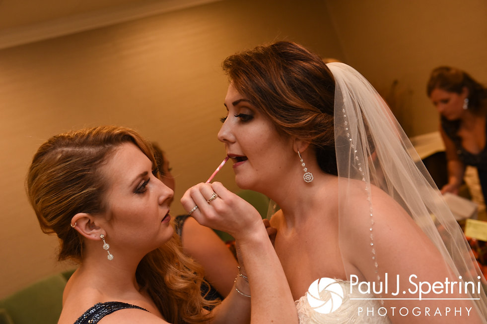 Kristina has her makeup applied prior to her October 2017 wedding ceremony at the Villa Ridder Country Club in East Bridgewater, Massachusetts.