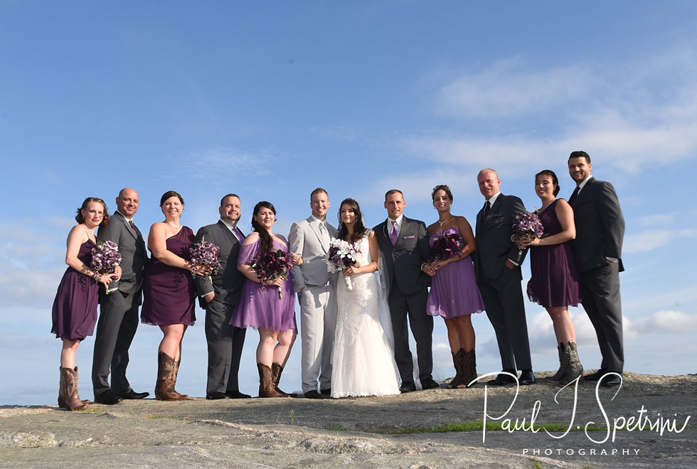 Beth & Bryan pose for a formal photo with their wedding party following their August 2018 wedding ceremony at Fort Phoenix in Fairhaven, Massachusetts.