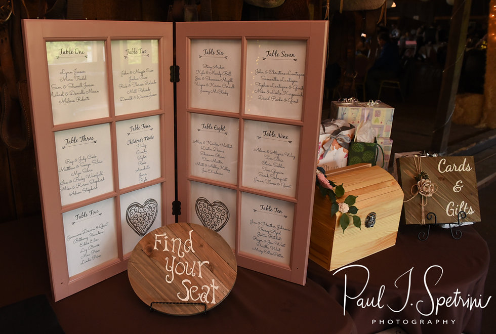 A look at the wedding seating chart, seen on display during Adam & Ashley's September 2018 wedding reception at Stepping Stone Ranch in West Greenwich, Rhode Island.
