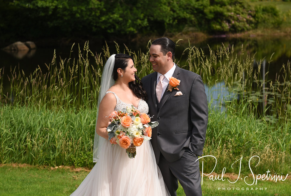 Jacob and Stephanie pose for a formal photo Stephanie and Jacob share a first look prior to their June 2018 wedding ceremony at Foster Country Club in Foster, Rhode Island.