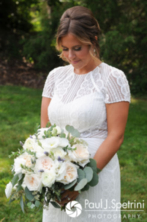 Jennifer poses for a photo prior to her August 2017 wedding ceremony at The Inn at Mystic in Mystic, Connecticut.