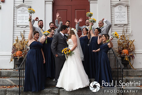 Kristin and Chris pose for a formal photo with their wedding party following their October 2016 wedding ceremony at Exeter Congregational Church in Exeter, New Hampshire.