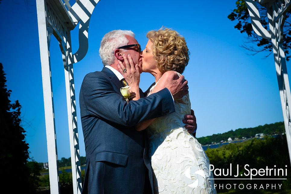 Bob and Debbie share their first kiss June 2016 wedding in Barrington, Rhode Island.