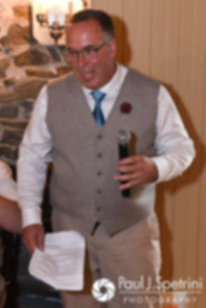 Ian's dad gives a speech during his son and Krystal's May 2016 wedding reception at DeWolf Tavern in Bristol, Rhode Island.