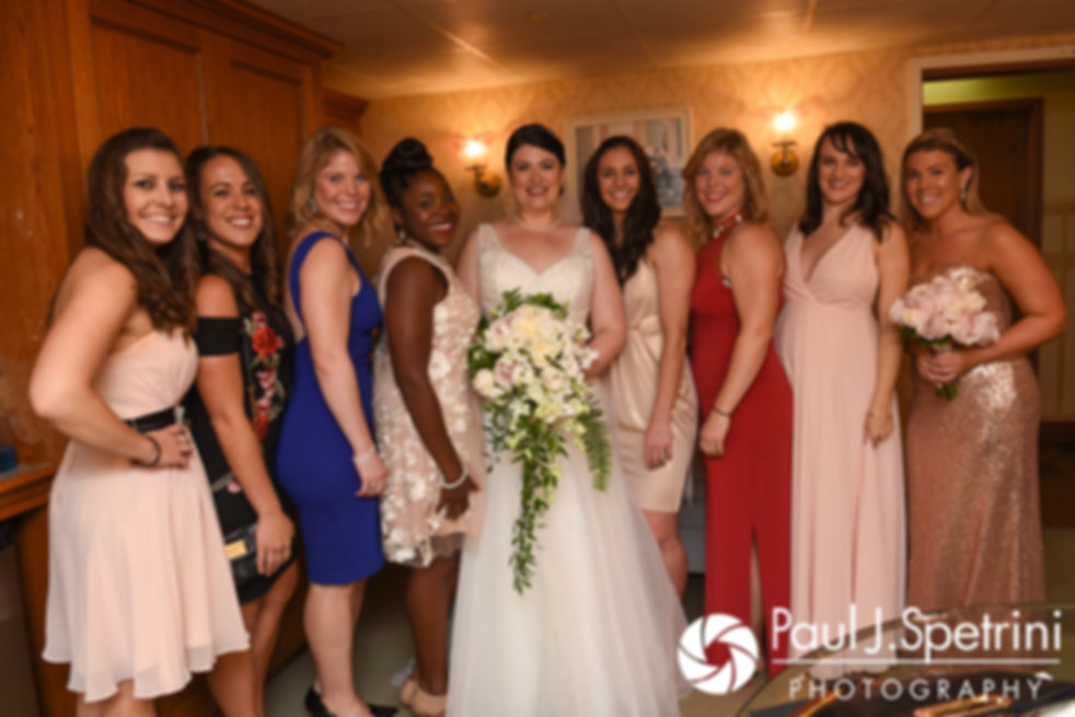 Allison poses for a photo with her bridesquad prior to her September 2017 wedding ceremony at the Roger Williams Park Casino in Providence, Rhode Island.