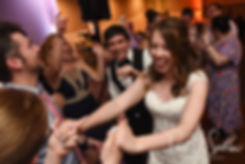 Brian & Sarah dance with guests during their June 2018 wedding reception at Pleasant Valley Country Club in Sutton, Massachusetts.
