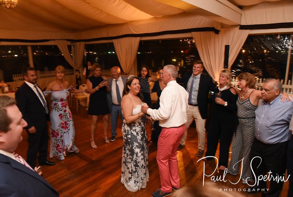 Mike and Kate dance with guests during their May 2018 wedding reception at Regatta Place in Newport, Rhode Island.