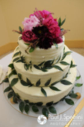 A look at the wedding cake at Dan and Simonne's June 2016 wedding in Providence, Rhode Island.