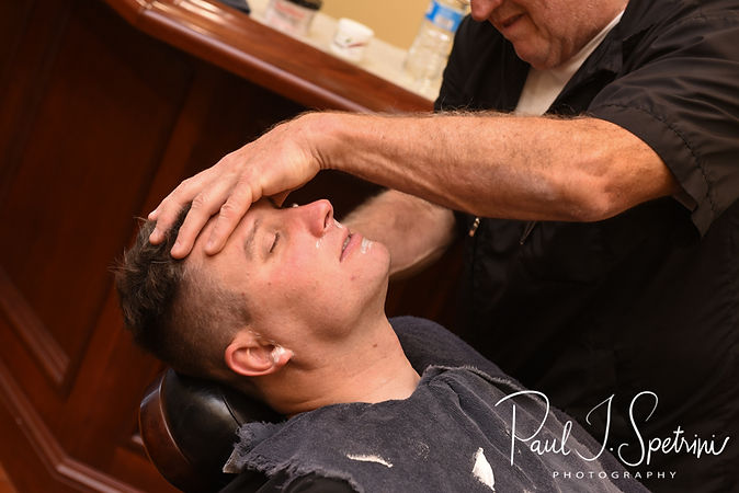 Brin has his hair cut prior to his September 2018 wedding ceremony, at Gents Barbershop and Spa in Cranston, Rhode Island.