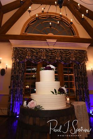 A look at the wedding cake prior to Nicole & Kurt's November 2018 wedding reception at the Publick House Historic Inn in Sturbridge, Massachusetts.