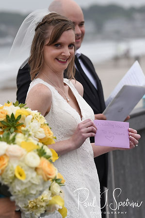 Amber shows off her vows during her June 2018 wedding ceremony at North Beach Clubhouse in Narragansett, Rhode Island.