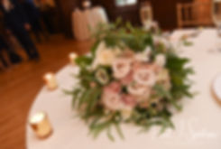 A look at the bride's bouquet, shown on display during Michael & Miranda's August 2018 wedding reception at the Squantum Association in Riverside, Rhode Island.