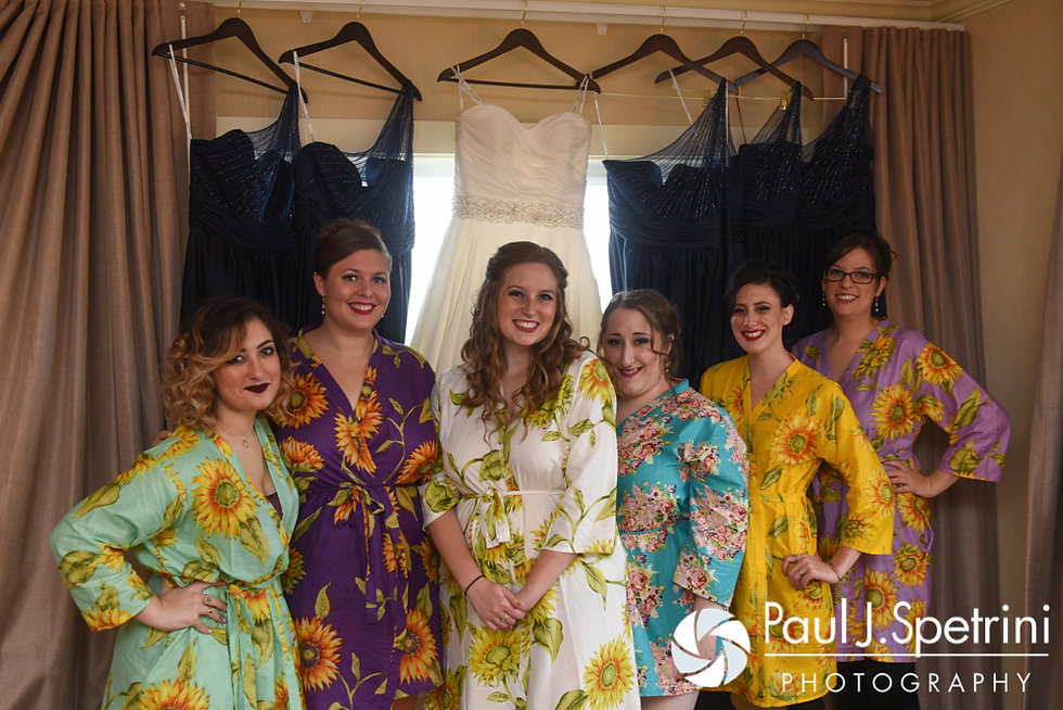 Kristin poses for a photo with her bridesmaids prior to her October 2016 wedding ceremony at Exeter Congregational Church in Exeter, New Hampshire.