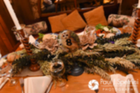 A look at the centerpieces prior to Samantha and Dale's October 2017 wedding reception at the Golden Lamb Buttery in Brooklyn, Connecticut.