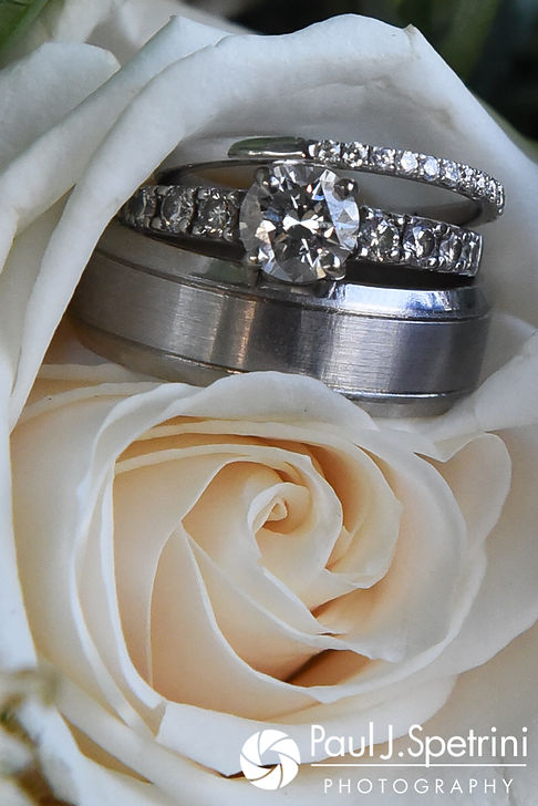 A look at Neil and Gianna's wedding rings, taken prior to their July 2017 wedding reception at Quidnessett Country Club in North Kingstown, Rhode Island.