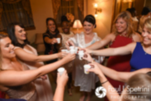 Allison and her bridesquad toast prior to her September 2017 wedding ceremony at the Roger Williams Park Casino in Providence, Rhode Island.