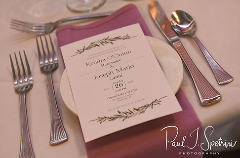A look at the place setting and invitaton during Kendra & Joe's May 2018 wedding reception at Crystal Lake Golf Club in Mapleville, Rhode Island.