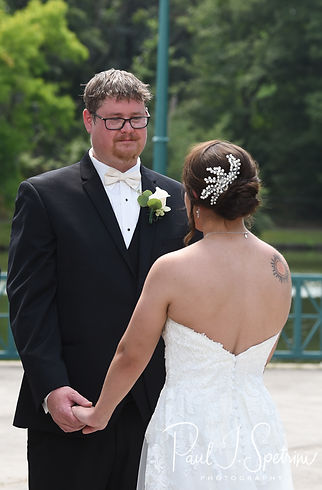 Mark looks at Danielle during his August 2018 wedding ceremony at the Roger Williams Park Casino in Providence, Rhode Island.