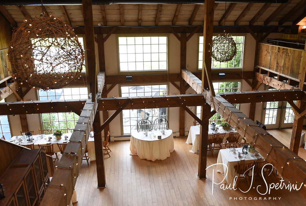 A look at the reception room prior to Ryan & Mike's May 2018 wedding reception at Bittersweet Farm in Westport, Massachusetts.