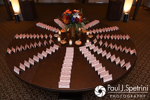 A look at the place cards prior to Kristina and Kevin's October 2017 wedding reception at the Villa Ridder Country Club in East Bridgewater, Massachusetts.