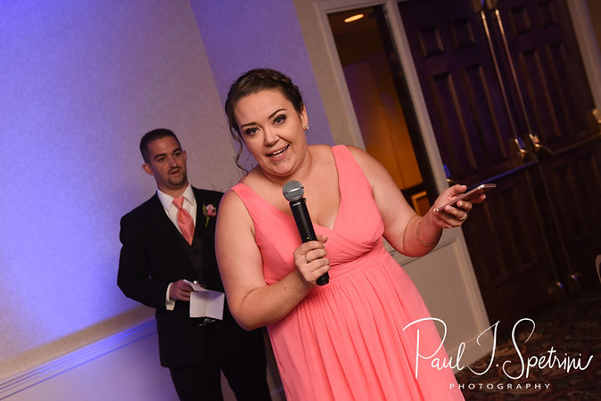 The maid of honor gives a toast during Patrick & Courtney's September 2018 wedding reception at Valley Country Club in Warwick, Rhode Island.