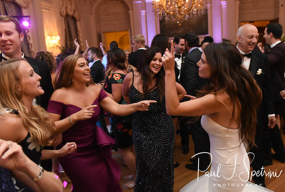 Helen and her friends dance during her September 2018 wedding reception at the Rosecliff Mansion in Newport, Rhode Island.