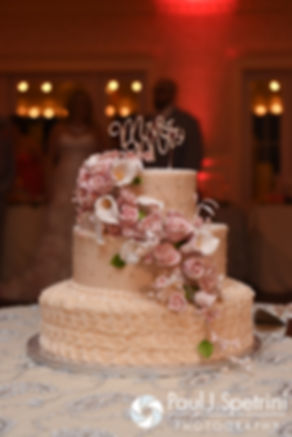 A look at the wedding cake on display at Michelle and Eric's May 2016 wedding at Hillside Country Club in Rehoboth, Massachusetts.