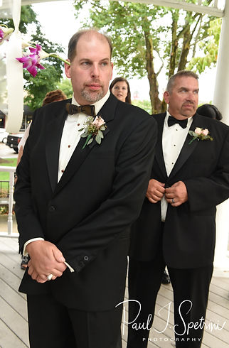 Bob nervously waits for Patti to arrive during his August 2018 wedding ceremony at the Walter J. Dempsey Memorial Bandstand in Norwood, Massachusetts.