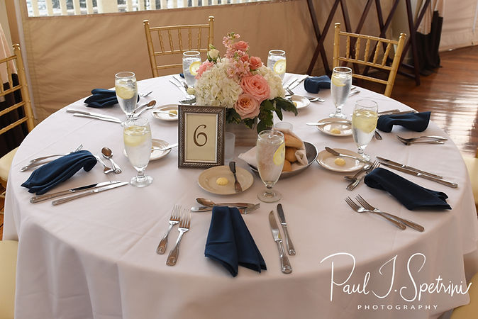 A look at the table settings prior to Mike & Kate's May 2018 wedding reception at Regatta Place in Newport, Rhode Island.