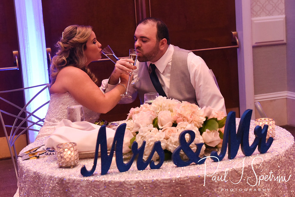 Sarah & Anthony toast during their October 2018 wedding reception at The Omni Hotel in Providence, Rhode Island.