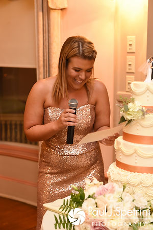 The maid of honor gives a speech during Allison and Len's September 2017 wedding reception at the Roger Williams Park Casino in Providence, Rhode Island.