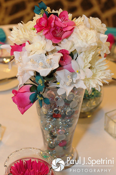 A look at the centerpieces for Angela and Shawn's spring 2016 Newport wedding at the Hotel Viking.