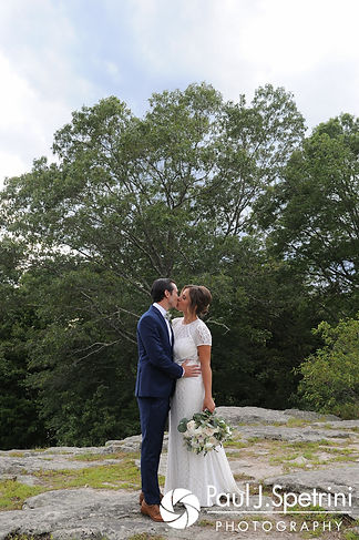 Jennifer and Bruce pose for a formal photo prior to their August 2017 wedding reception at The Inn at Mystic in Mystic, Connecticut.