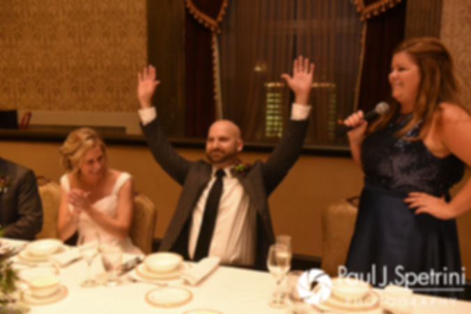 Tricia and Kevin listen to a toast during their October 2017 wedding reception at the Providence Biltmore in Providence, Rhode Island.