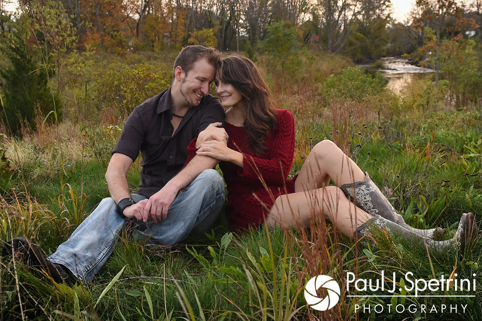 Beth & Bryan pose for a formal photo during their November 2017 engagement session at the Acushnet Sawmill in New Bedford, Massachusetts.