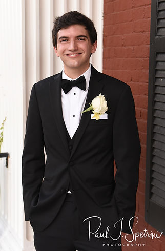 Brian poses for a formal photo following his June 2018 wedding ceremony at the College of the Holy Cross in Worcester, Massachusetts.