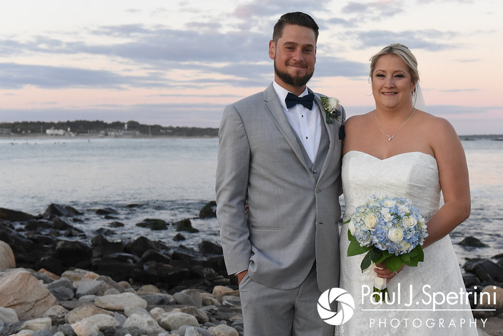 Jennifer and Robert pose for a formal photo following their September 2017 wedding ceremony at the town beach in Narragansett, Rhode Island.