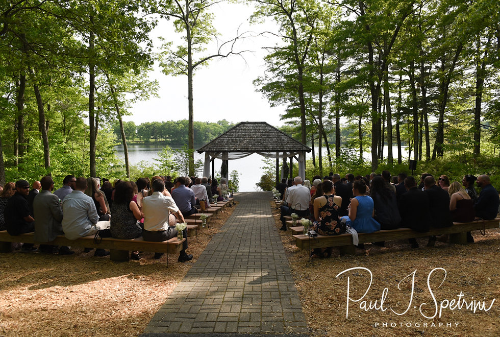A look at the ceremony site prior to Kendra & Joe's May 2018 wedding ceremony at Crystal Lake Golf Club in Mapleville, Rhode Island.