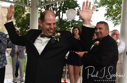Bob celebrates following his August 2018 wedding ceremony at the Walter J. Dempsey Memorial Bandstand in Norwood, Massachusetts.