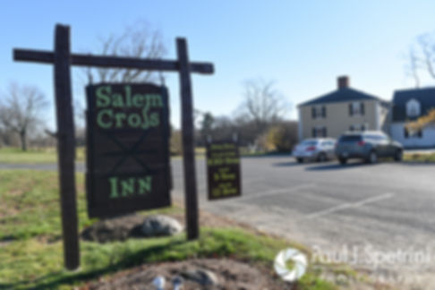 A look at the sign for the Salem Cross Inn, prior to Crystal and Andy's November 2016 wedding.