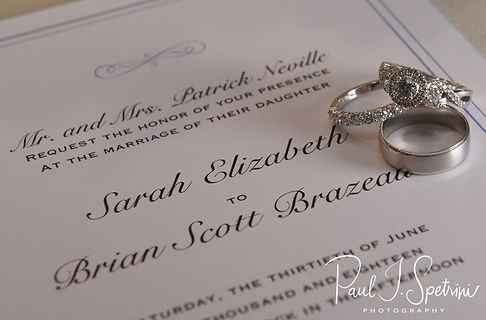 A look at Brian and Sarah's rings and invitation, as seen during their June 2018 wedding reception at Pleasant Valley Country Club in Sutton, Massachusetts.