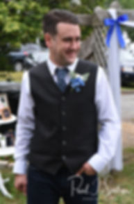 Josh reacts as Kim walks down the aisle during his September 2018 wedding ceremony at their home in Coventry, Rhode Island.