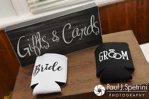 A look at the details on display prior to Arielle and Gary's September 2017 wedding reception at North Beach Club House in Narragansett, Rhode Island.