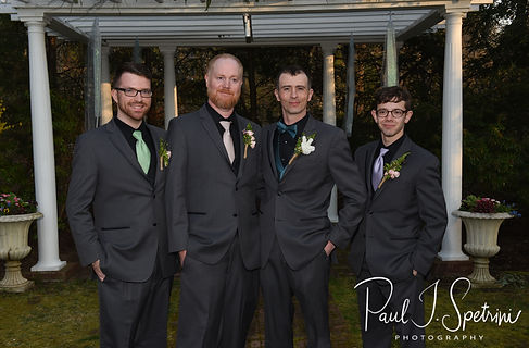 Nate pose for a photo with his groomsmen following his May 2018 wedding ceremony at Meadowbrook Inn in Charlestown, Rhode Island.