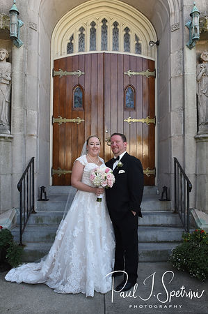 Patrick & Courtney pose for a formal photo following their September 2018 wedding ceremony at St. Paul Church in Cranston, Rhode Island.