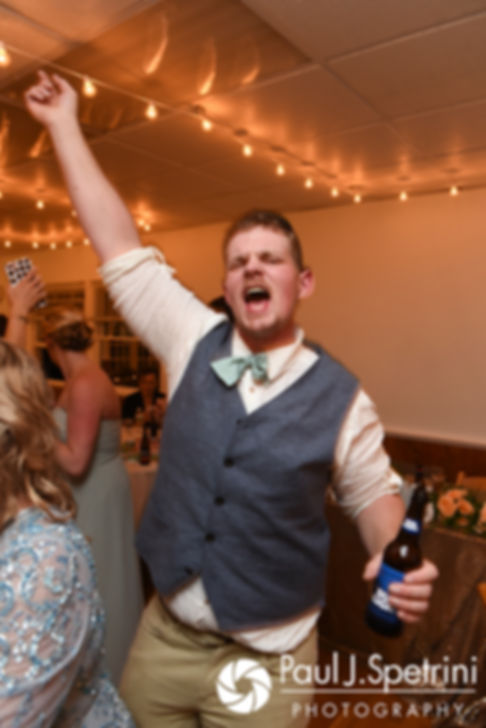 Guests dance during Arielle and Gary's September 2017 wedding reception at North Beach Club House in Narragansett, Rhode Island.