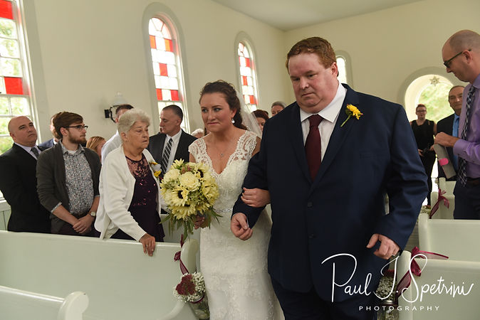 Allie arrives to her October 2018 wedding ceremony at South Ferry Church in Narragansett, Rhode Island.