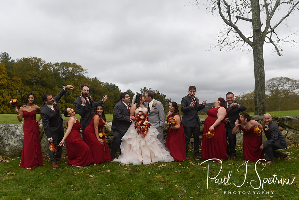 Rich & Makayla pose for a photo with their wedding party prior to their October 2018 wedding wedding ceremony at Zukas Hilltop Barn in Spencer, Massachusetts.