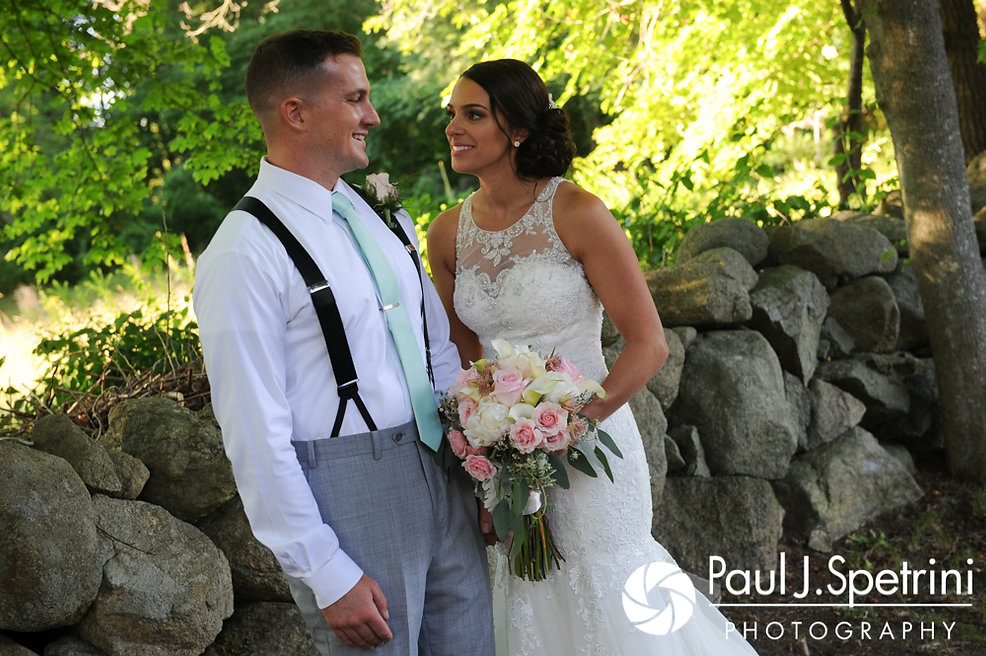 Sean and Cassie look at each other during a formal photo following their July 2017 wedding ceremony at Rachel's Lakeside in Dartmouth, Massachusetts.